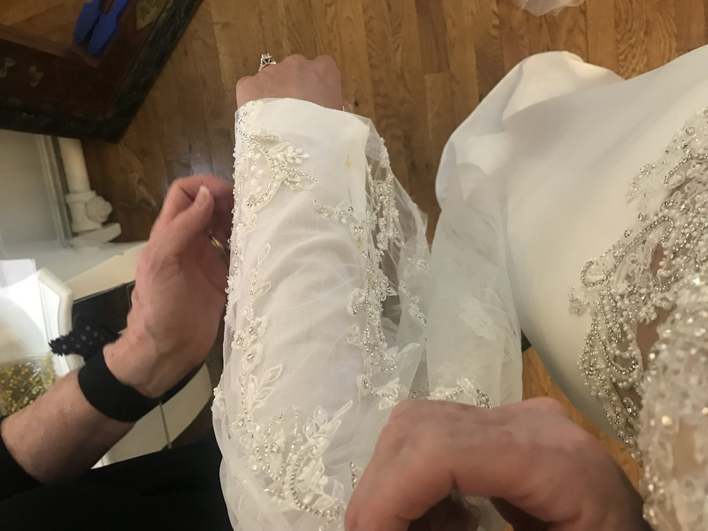 Step 3: - Picking out the perfect locations for the appliqués. Then Karen hand sews on each one, I called her a magician.