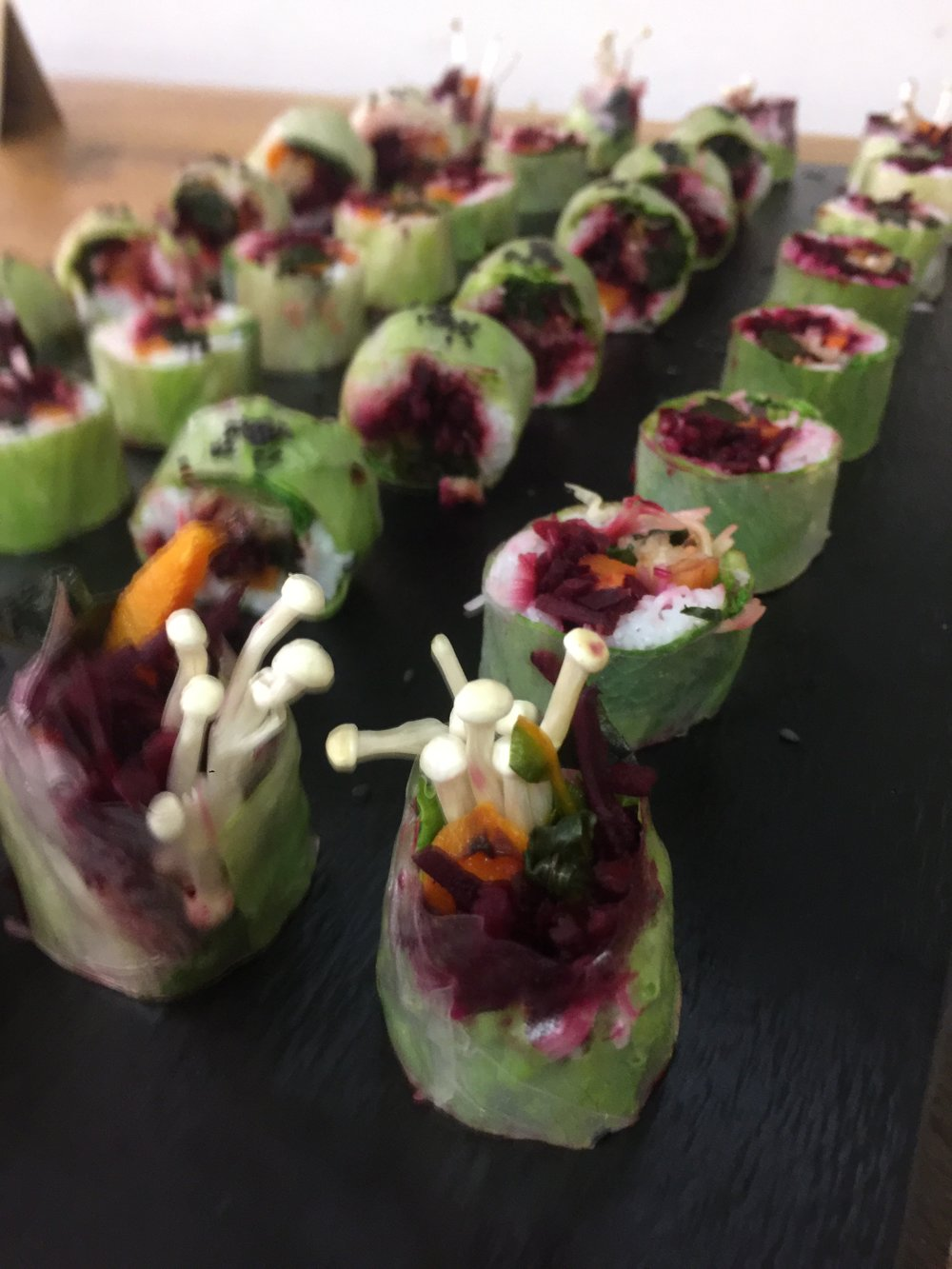 Vietnamese roll with seasonal vegetables and hoisin peanut dipping sauce