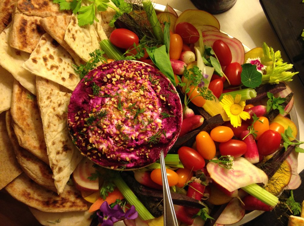 Beetroot and fava bean dip