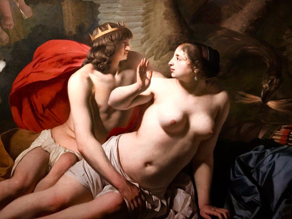 Yksityiskohta teoksesta  Jupiter ja Kallisto , öljy kankaalle 1655.