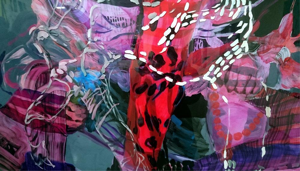 Yksityiskohta maalauksesta Mixed Conception, öljy akryylilevylle, 150x165 cm, 2016