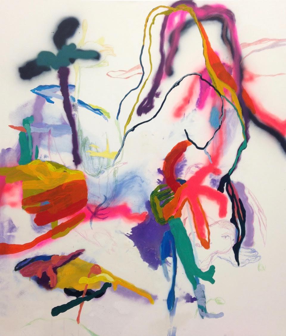 Dino's Birthday Splash,tempera,spray ja värikynäkankaalle, 150x130 cm, 2016