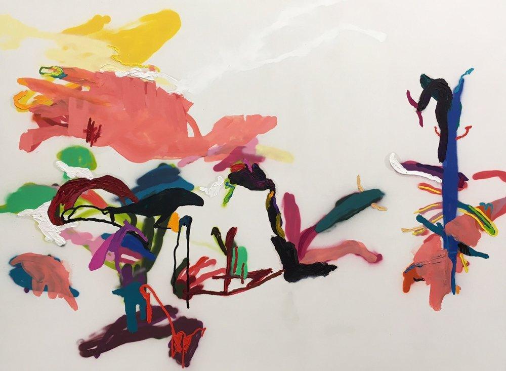 Untitled, öljy ja spray kankaalle, 150x200 cm, 2017