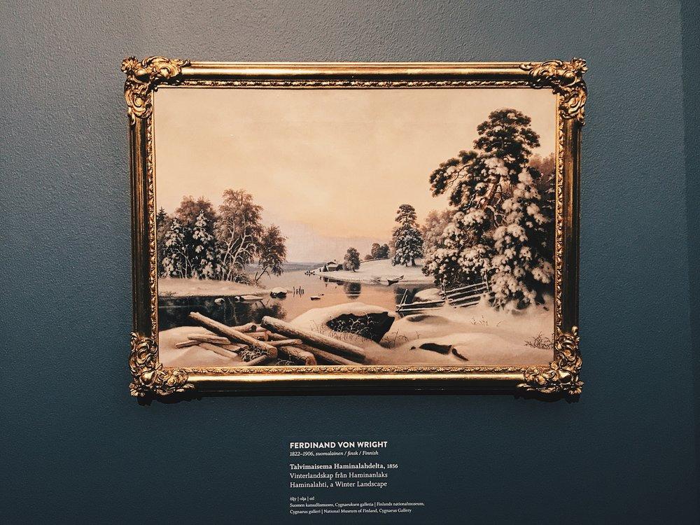 Haminalahden ympäristö toistuu veljesten maalauksissa vuodenajasta toiseen. Ferdinand von Wrightin  Talvimaisema Haminalahdelta  (1856, öljy) on loistava esimerkki siitä, kuinka kauniisti hän kotipaikkaansa kuvasi.