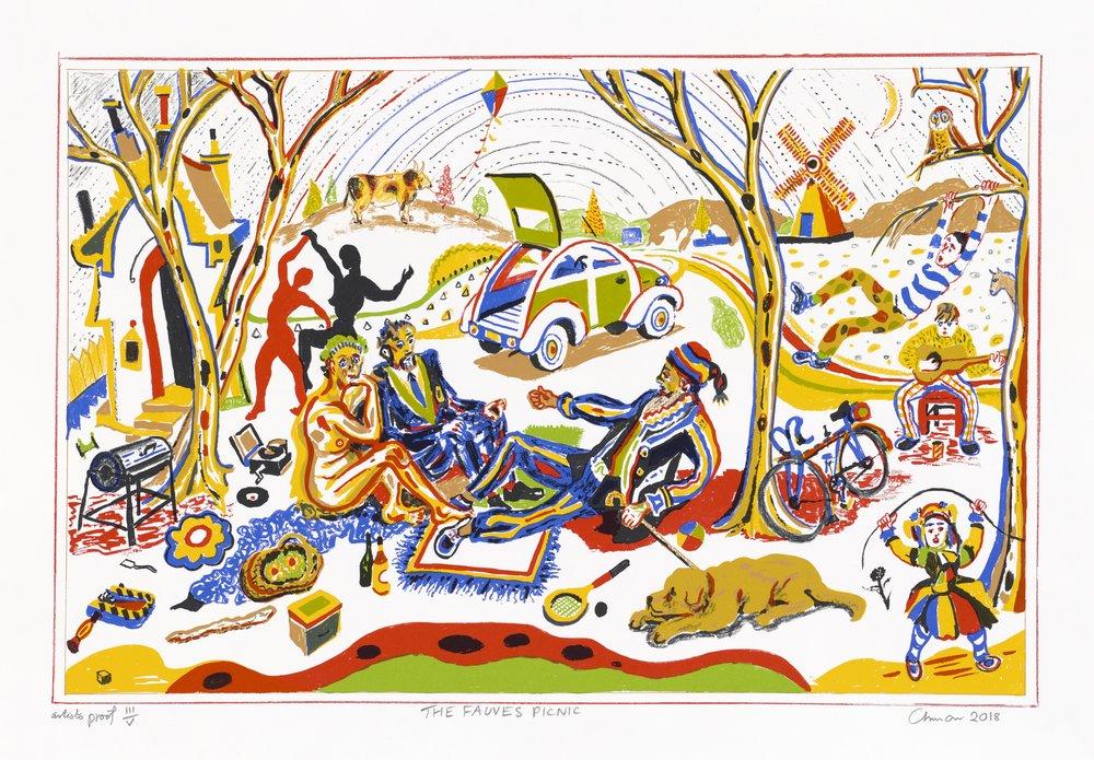 Chris Orr MBE RA: The Fauves Picnic , silkscreen,55 x 75cm Kuva:John Bodkin / Dawkinscolour