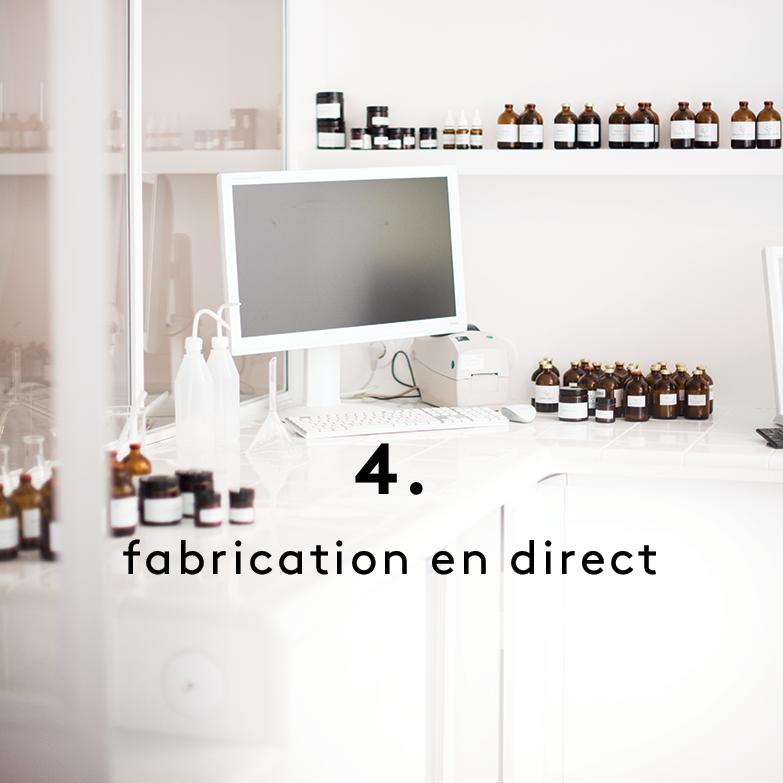 Nous créons votre soin frais dans notre laboratoire en 10 minutes, selon un procédé éco-friendly breveté.