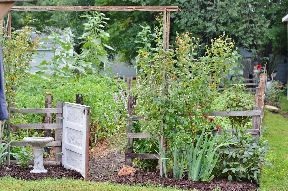 garden gate entry arbor vegetable flower potager