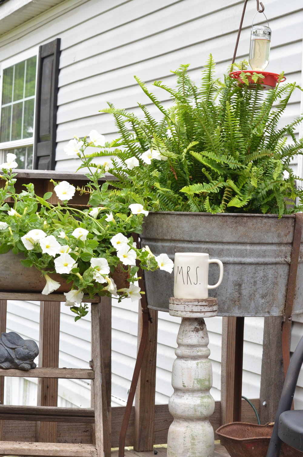 farmhouse porch washtub planter fern galvanized planter