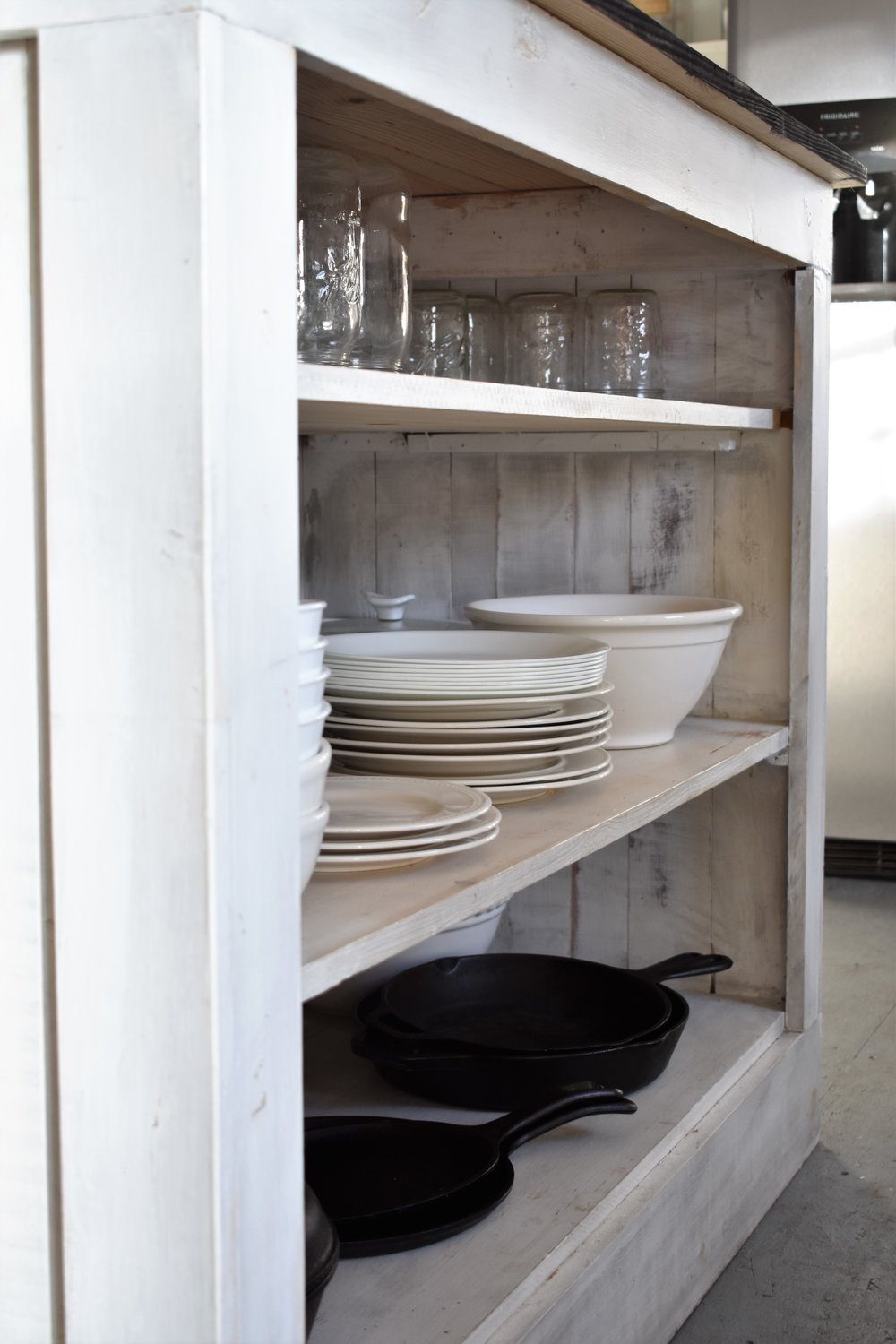Lodge Cast Iron Cookware, Mason Jars and White dishes