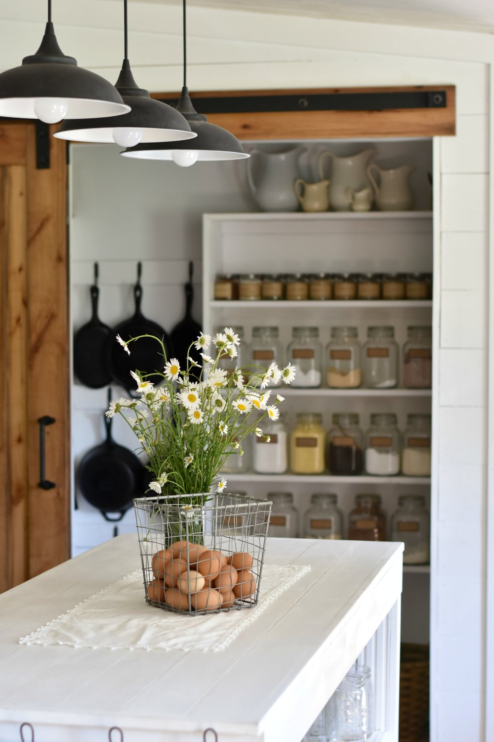Farmhouse kitchen pantry with sliding barn door
