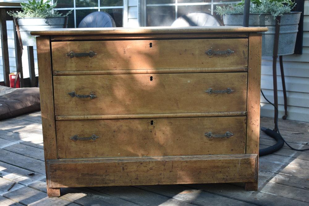 natural sanded dresser makeover