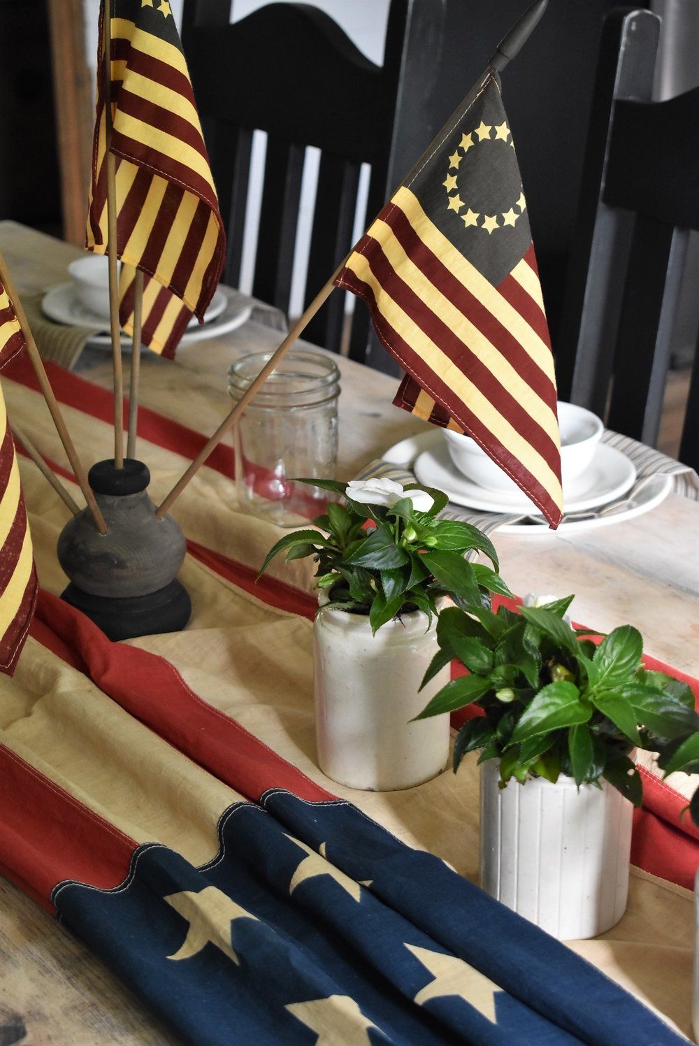 Farmhouse July 4th Simple Table Setting Red White and Blue theme