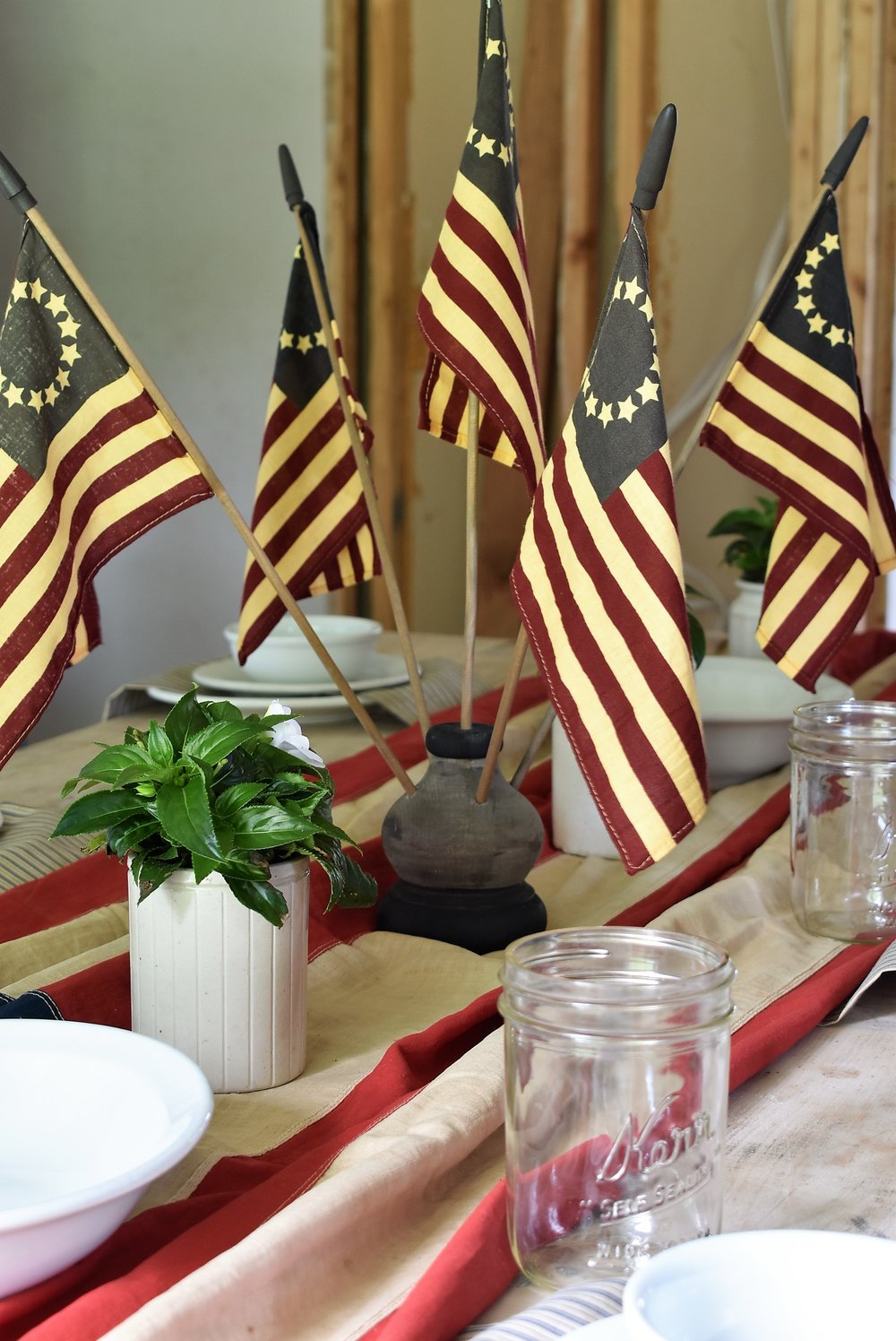 Red White and Blue Tablescape for July 4th Farmhouse Style Independence Day