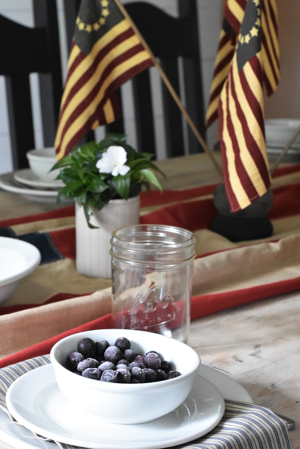 July 4th Table Setting for a Simple Farmhouse Style in the traditional Red White and Blue