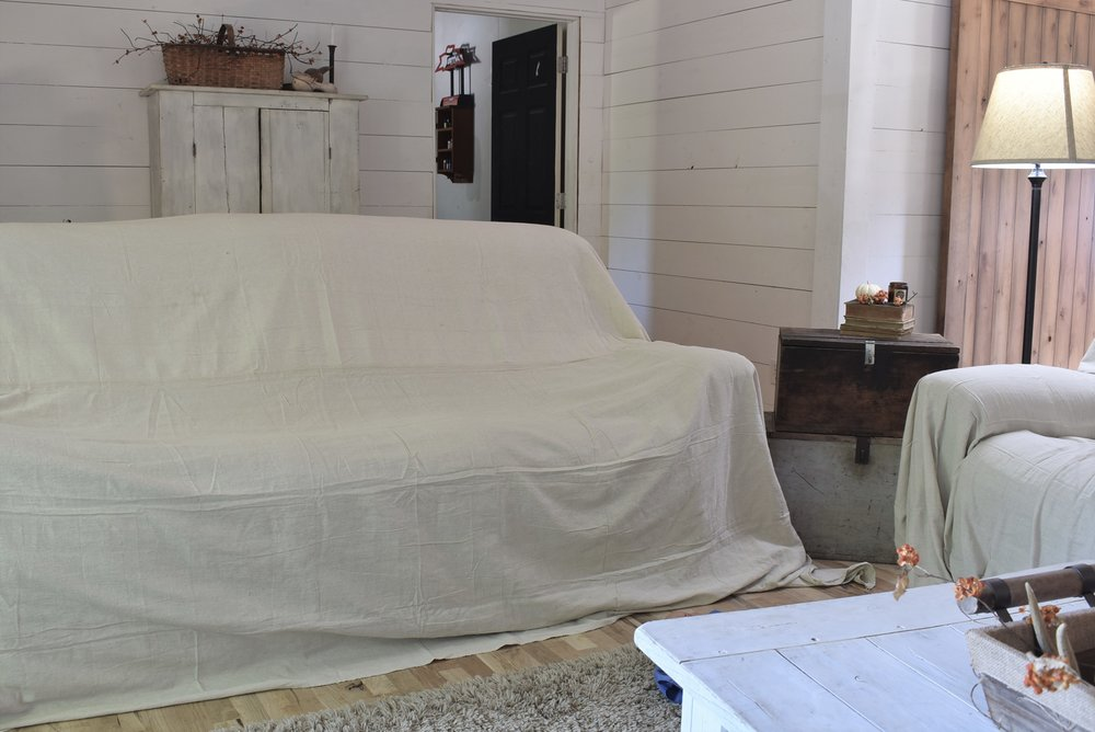 DIY Cheap Drop Cloth Covered Couch Cover | Rocky Hedge Farm