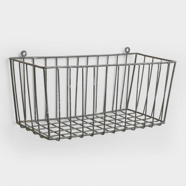 This galvanized basket would be perfect for hanging on the wall to store vegetables in. Several of these lined up would be beautiful together and easy to store sweet potatoes, onions, garlic, tomatoes or whatever other vegetables your family uses.