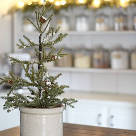 Simple Farmhouse Christmas Home Tour -  Christmas Tree in Old Crock