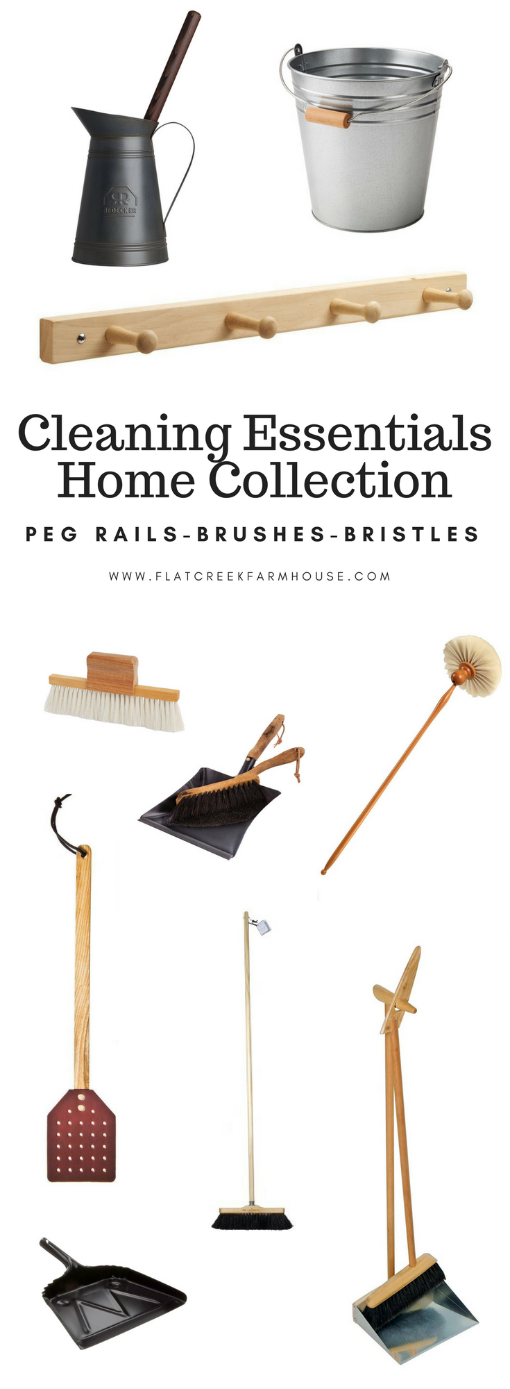 Cleaning Essentials for an earth friendly home. Natural brooms and bristles that are sustainable and beautiful. Use a peg rack to keep all of your cleaning supplies organized.