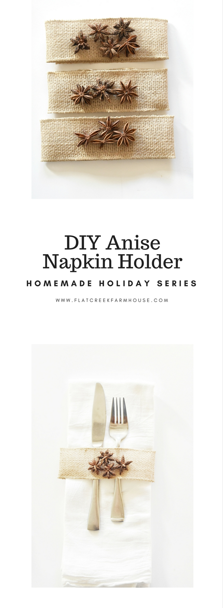 DIY Anise Napkin Holders for Thansgiving Holiday Table Setting. An earthy rustic woodsy theme table setting.