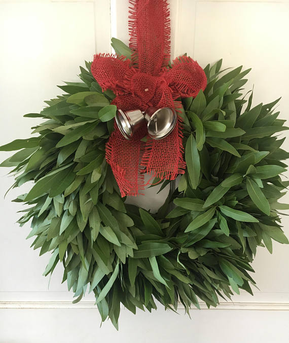 Fresh Bay Leaf Wreath with Red Bow and Bells for Christmas