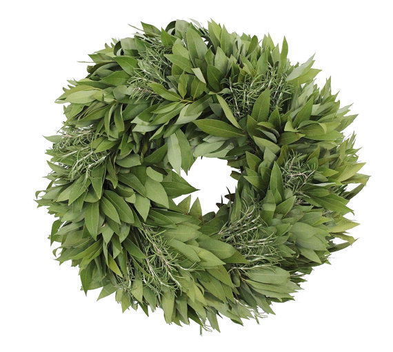 Fresh Bay Leaf Wreath with Rosemary for Christmas