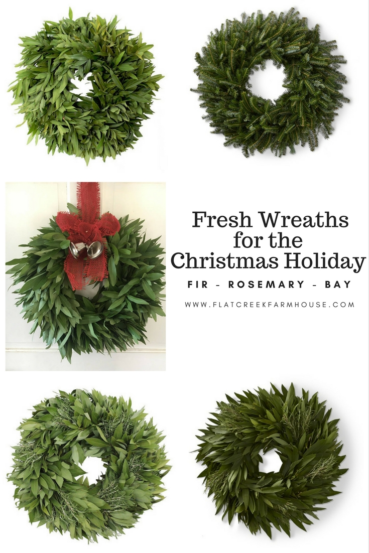 Beautiful all natural wreaths made from fresh Fir, Rosemary or Bay leaves. These wreaths are perfect for the holiday season and dry beautifully to use throughout the year.