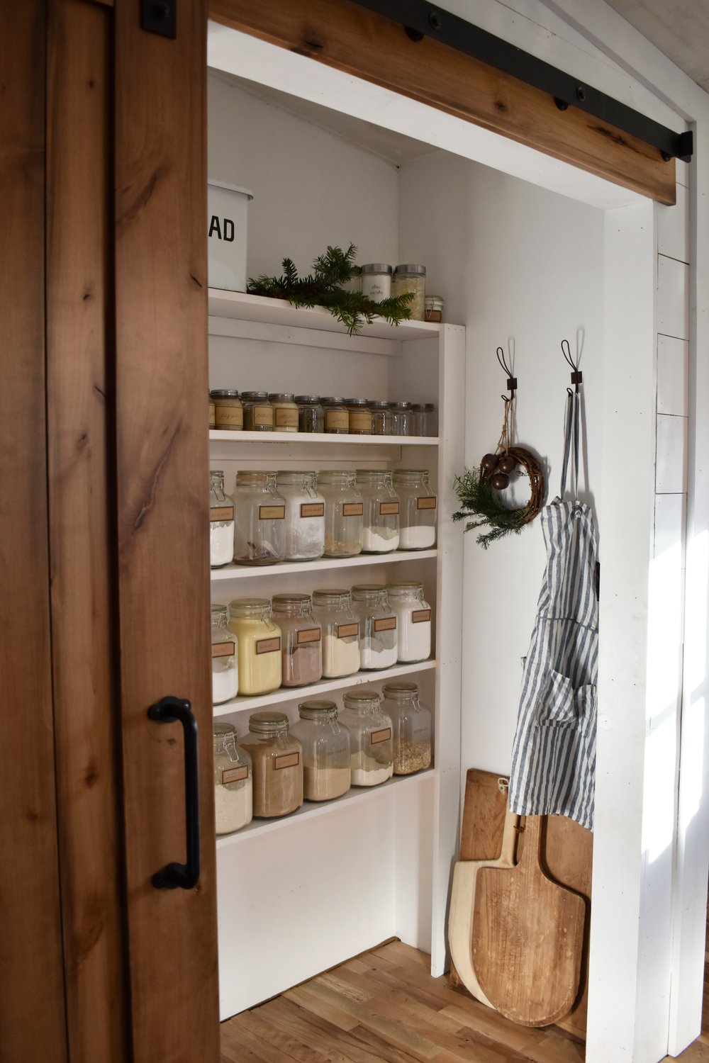 A Very Simple Farmhouse Christmas Tour. Rustic, Country, Farmhouse, Old Fashioned, Handmade Christmas even the organized pantry gets a little touch of Christmas