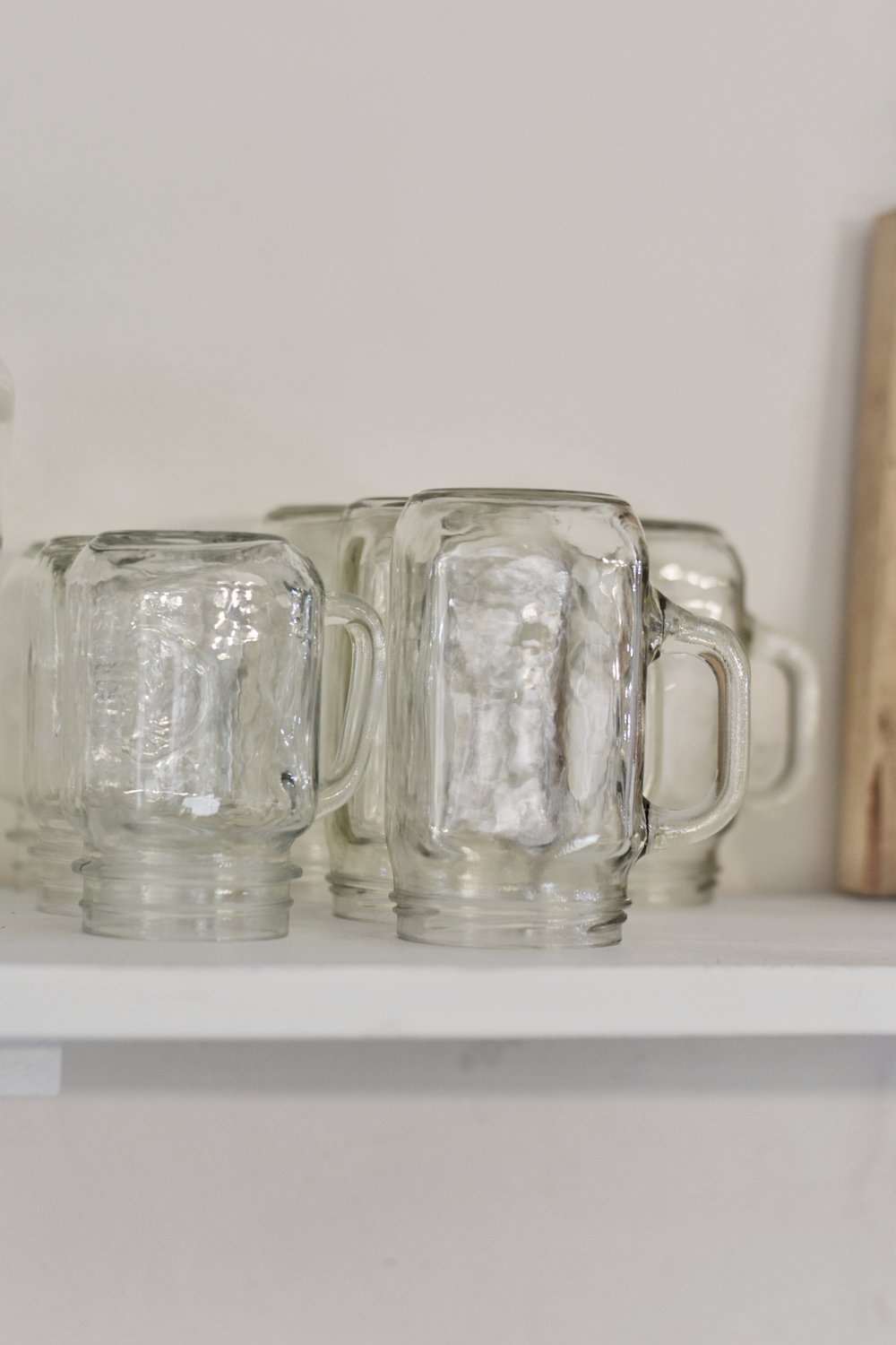 Vintage Glass Canning Drinking Jars With Handles. Tips on simplifying life in the kitchen.