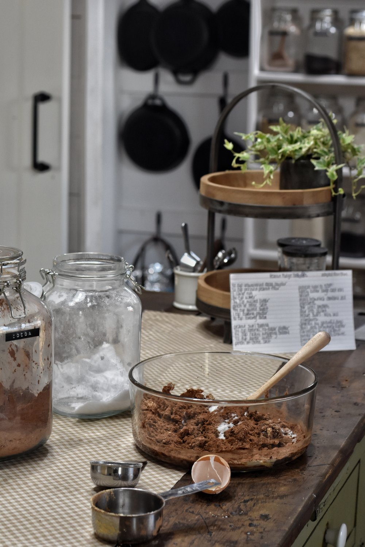 Trim Healthy Mama Peanut Swirl Brownies cooked in a cast iron skillet THM S dessert www.flatcreekfarmhouse.com