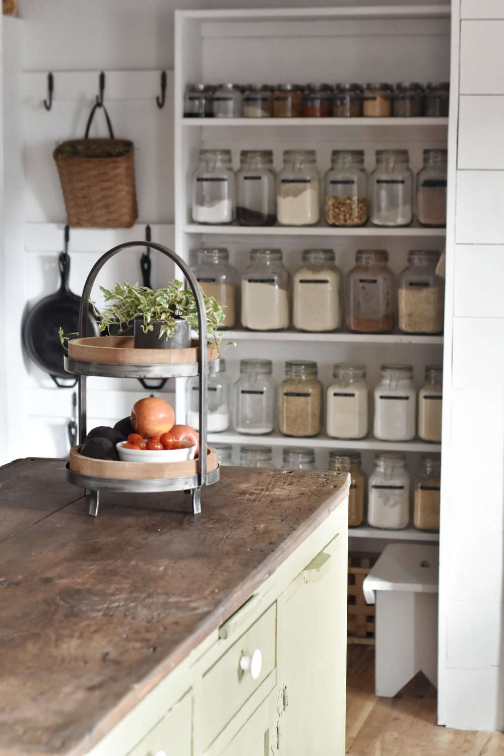 An organized, well stocked pantry for creating healthy meals. Store spices and herbs in glass jars for a sustainble, zero waste lifestyle | Rocky Hedge Farm