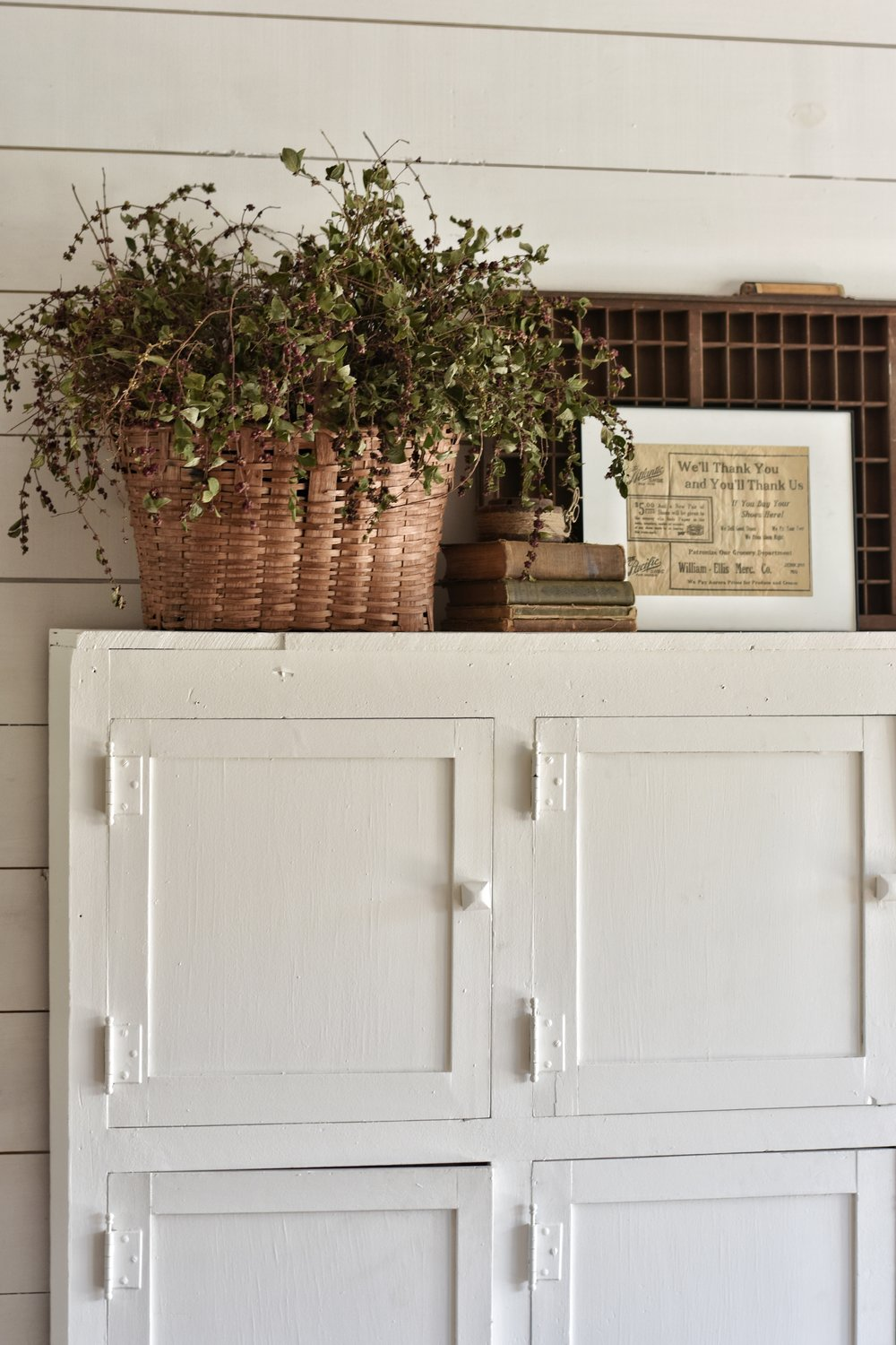 White Simple Farmhouse Cabinet Makeover www.flatcreekfarmhouse.com