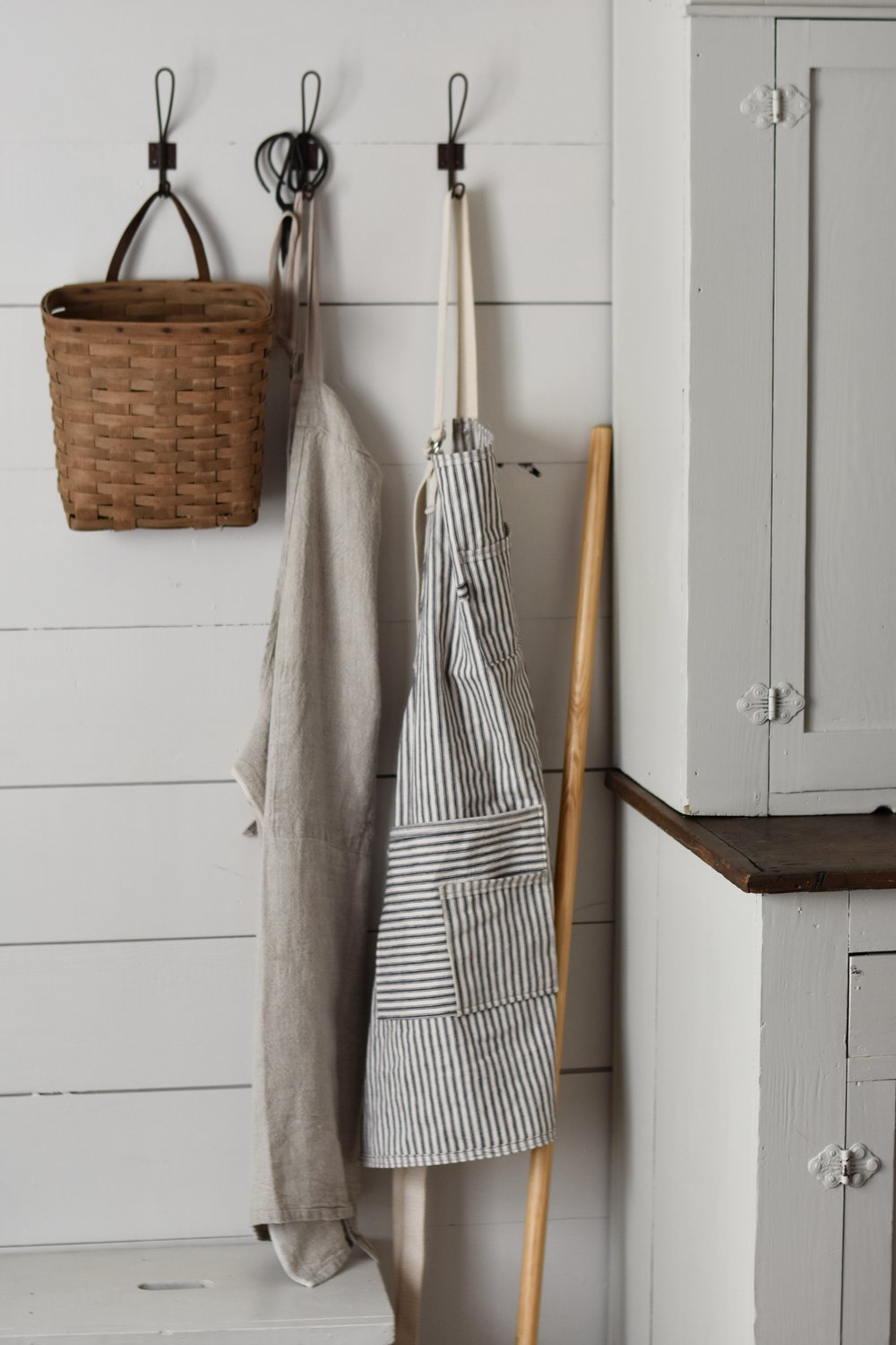 ticking apron - Classic ticking apron for the hardworking cook. beautifully detailed and pretty to look at it when not in use.