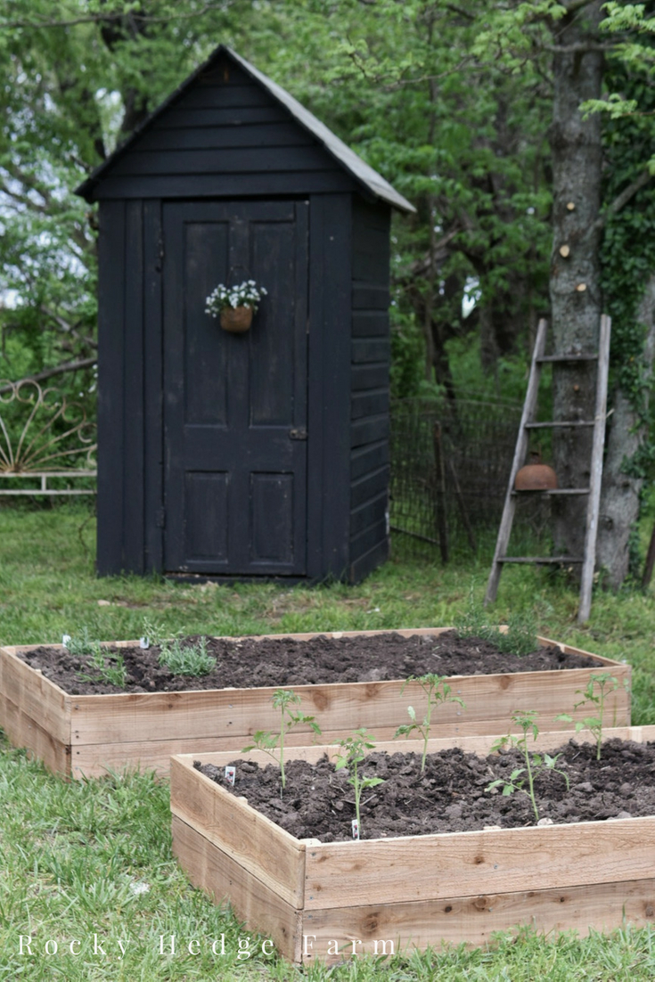 Black Potting Garden Shed with Cedar Raised Vegetable Garden Beds