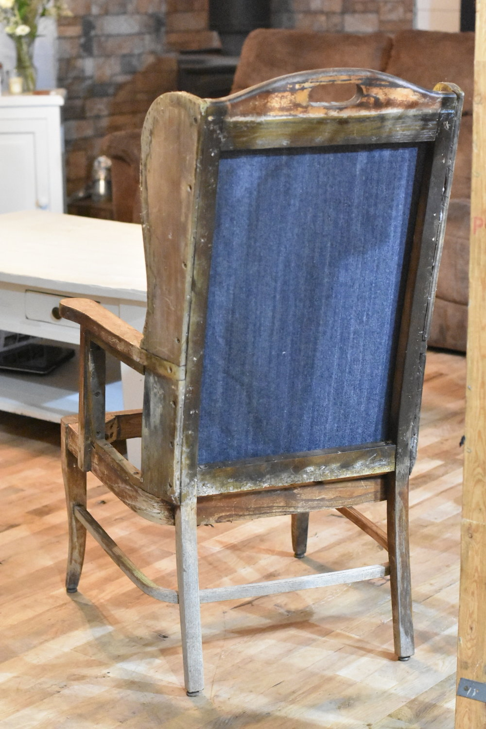 Deconstructed Wingback Chair Makeover