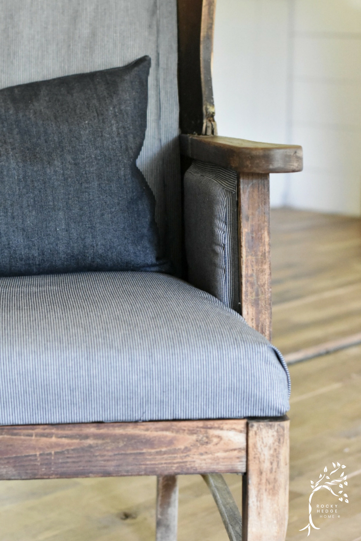 Deconstructed Wing Back Chair re-done in a Railroad Denim Fabric and a Solid Denim