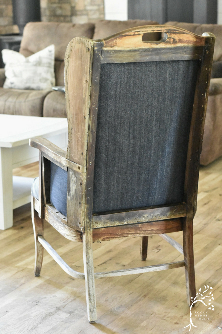 Deconstructed Railroad and Denim Wing Back Chair
