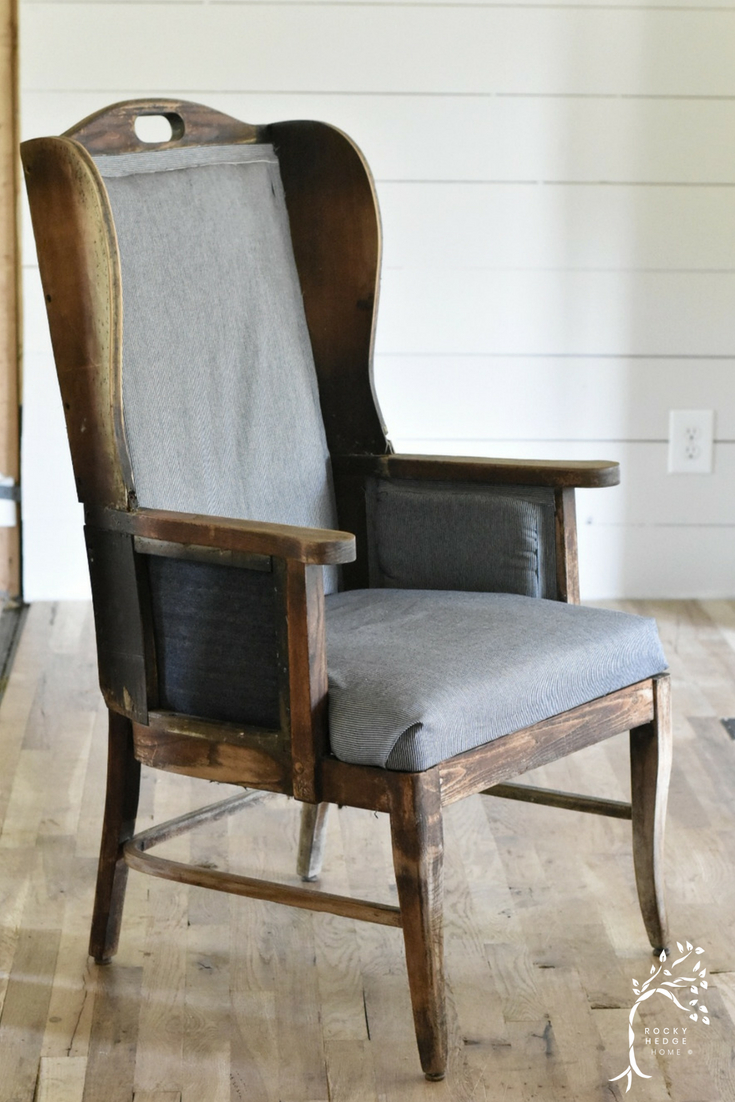 Deconstructed Wing Back Chair #farmhousestyle #wingbackchair #deconstructedchair #farmhousechair