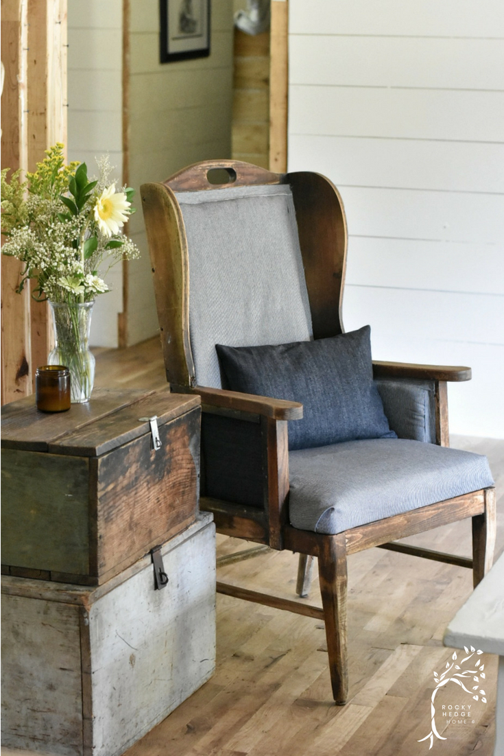 Wing Back Chair Makeover done in RailRoad Denim