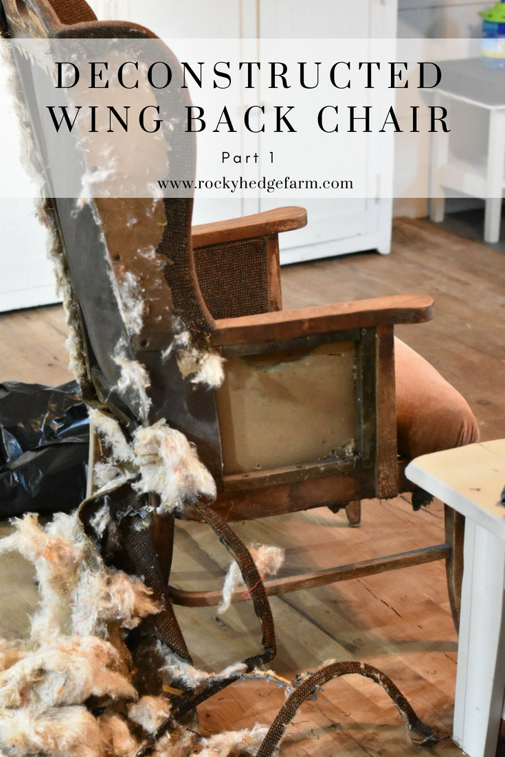 Deconstructed Wingback Chair #Furnituremakeover #deconstructedchair #makeover #farmhousestyle #primitive #farmhouse #modernfarmhouse #farmhousesimple