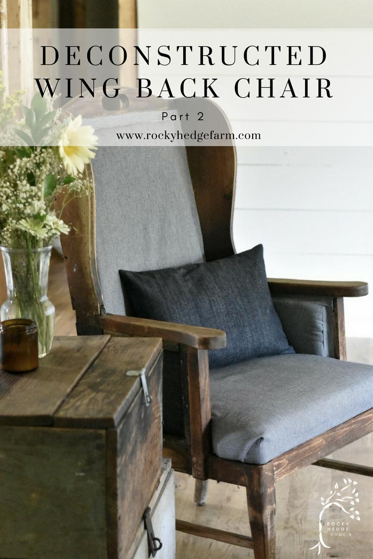 Deconstructed Wingback Chair Makeover #deconstructedchair #furnituremakeover #chairmakeover #farmhousesimple #farmhouse #primitive #modernfarmhouse