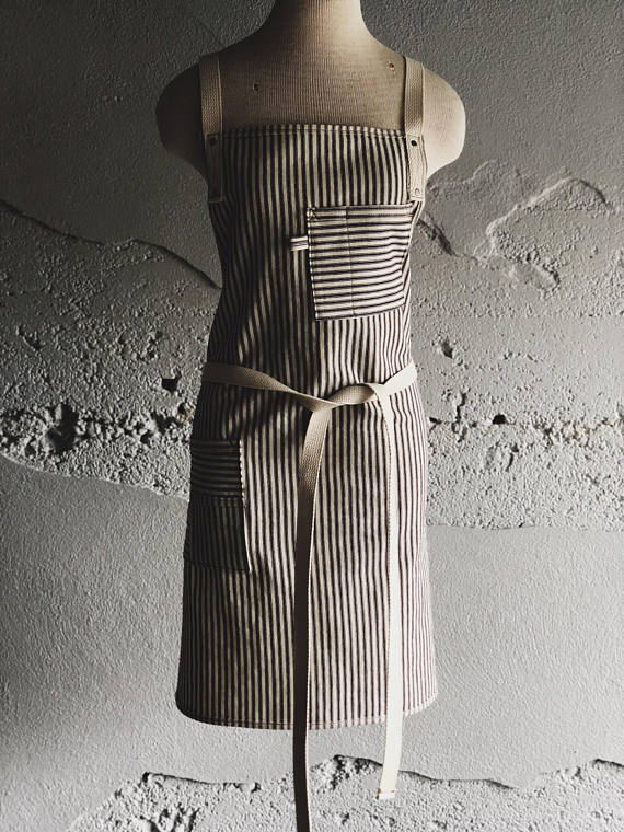 Old Soul Bag Apron Ticking Stripe Farmhouse #apron #Farmhouseapron #tickingapron