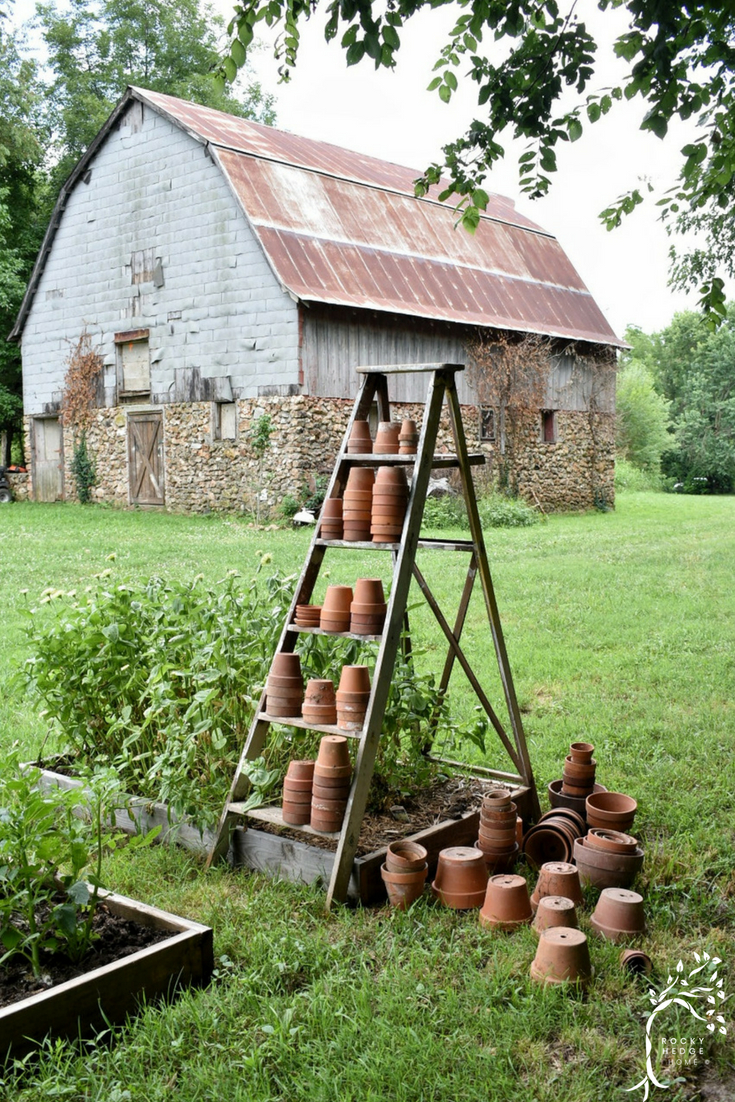 An old American barn and flower garden filled with rustic charm using a vintage ladder and old aged terra cotta clay pots. #flowergarden #agedterracotta #claypots #vintagegarden