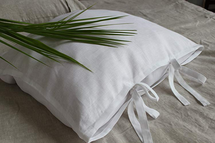 linen throw pillow.jpgLinen pillow sham with ties, standard, queen, king and square size, in natural linen oatmeal, white or off-white colors