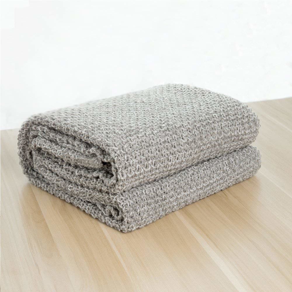Knitted Throw Blanket  Lightweight, Soft & Cozy Knit Throws - Grey,