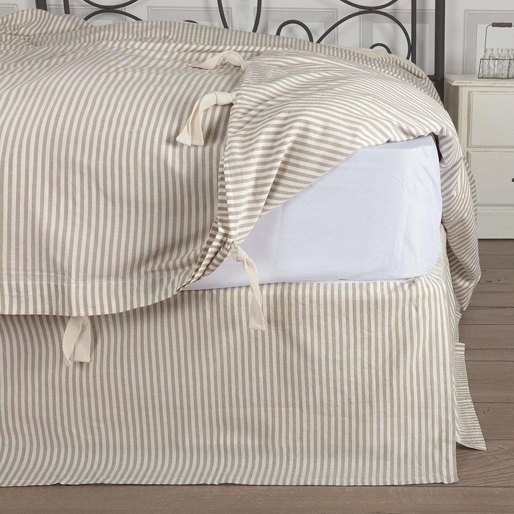 Farmhouse Ticking Stripe Duvet Cover, Beige Taupe & Off-White