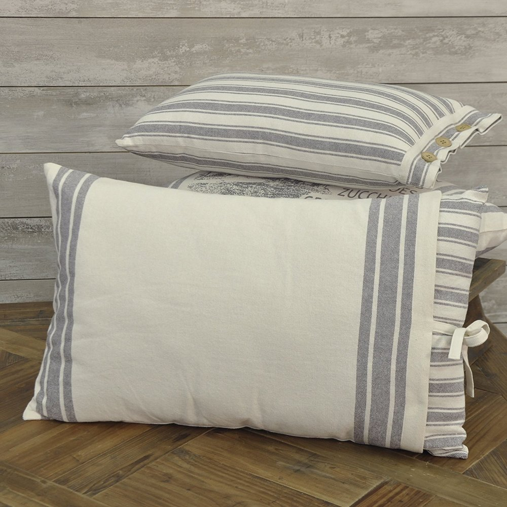 Ticking Stripe Filled Pillow with Grain Sack Cover