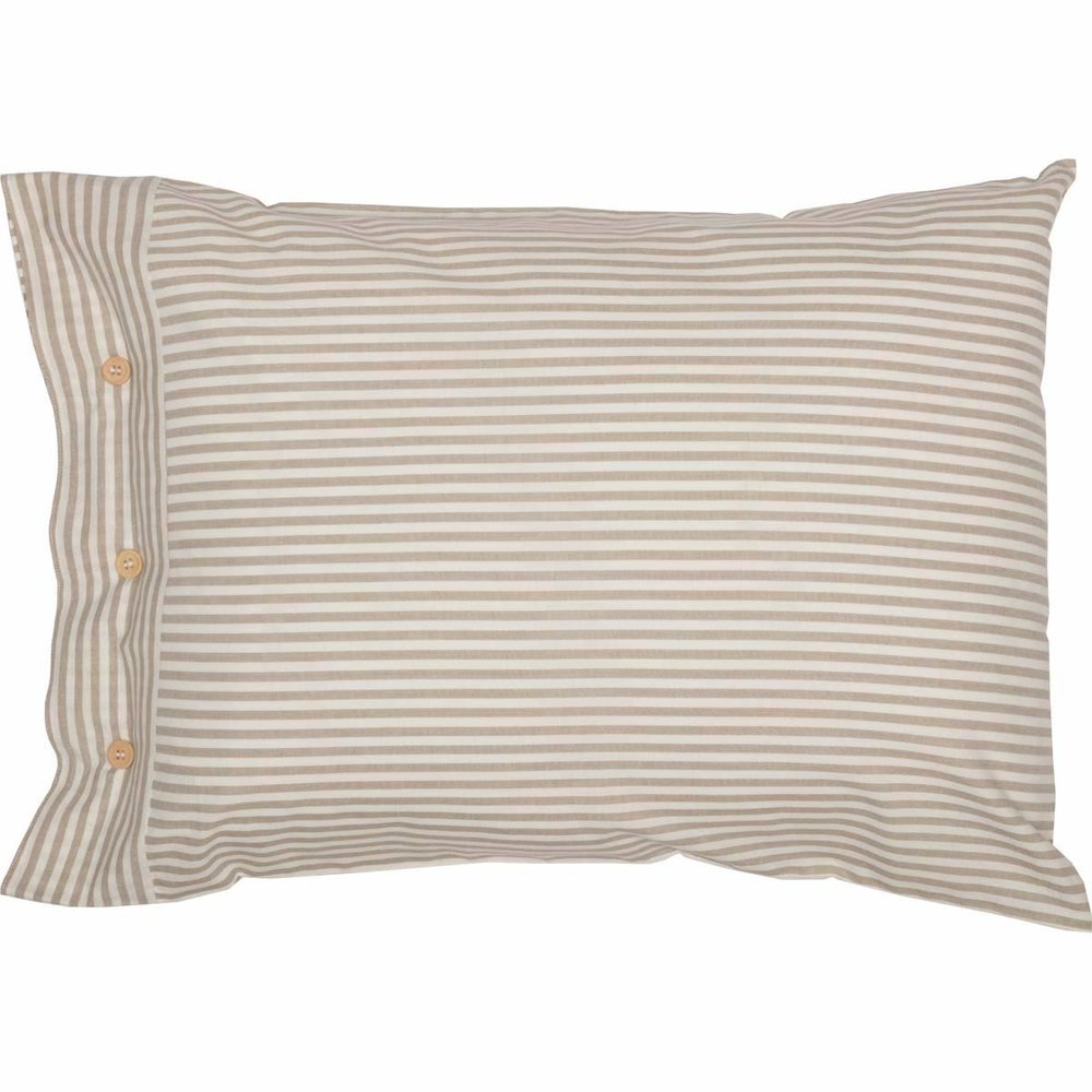 Classic Farmhouse Ticking Stripe Taupe Standard Sham Bed Pillow Cover.jpg