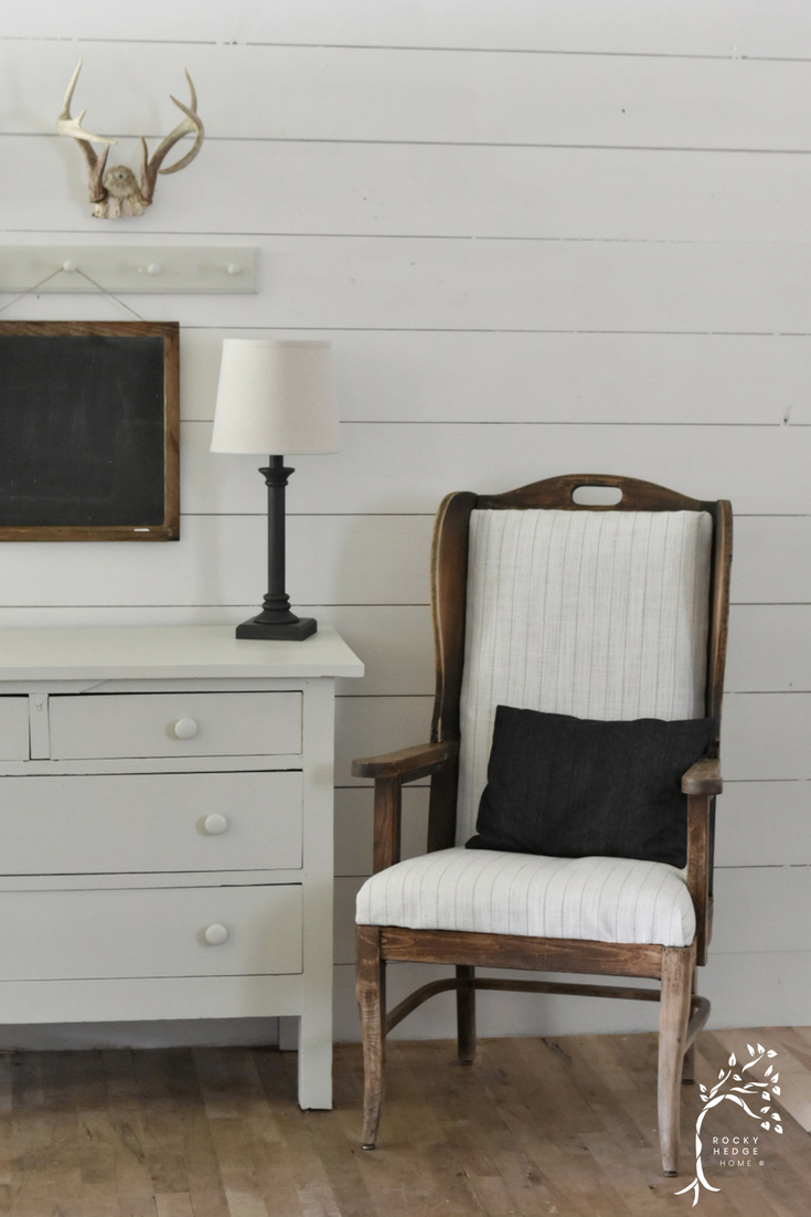 A Simple Farmhouse Style Entry - Rustic Deconstructed Wing Back Chairs with Peg Rail and Antlers