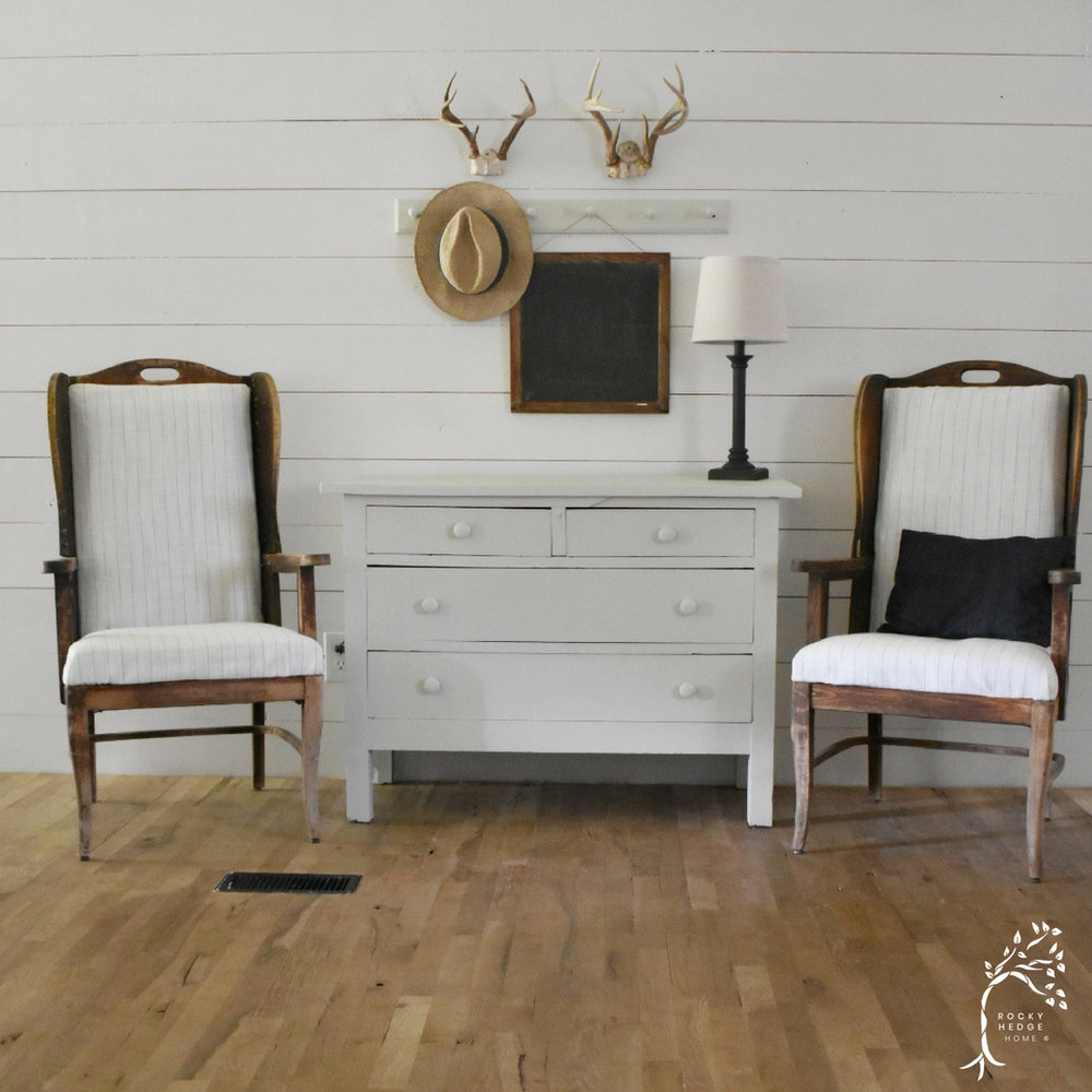 Simple Rustic Farmhouse Entry Way - You have to click over and see the before of the space because this family is making over a double wide in a farmhouse style that they love