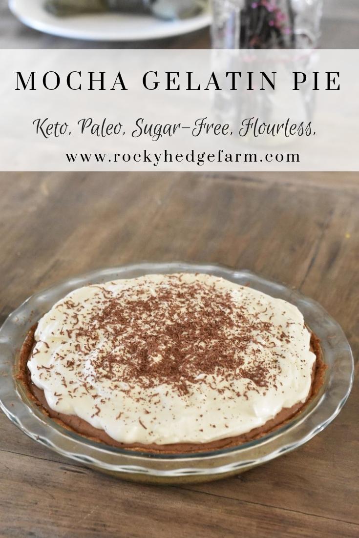 Sugar Free Mocha Gelatin Pie - Paleo, Keto, THM, Flourless